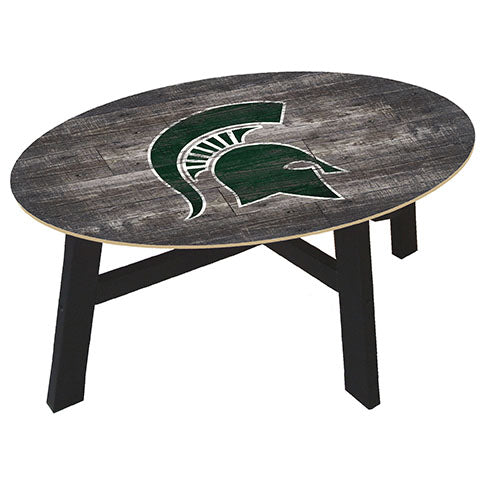 Michigan State Distressed Wood Coffee Table
