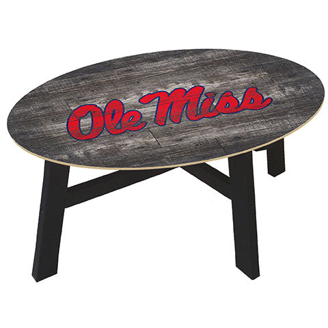 Ole Miss Distressed Wood Coffee Table