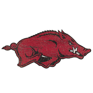 University of Arkansas Distressed Logo Cutout Sign