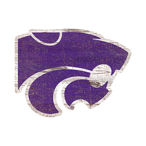 Kansas State  Distressed Logo Cutout Sign