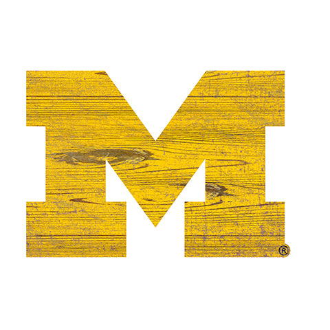 University of Michigan Distressed Logo Cutout Sign