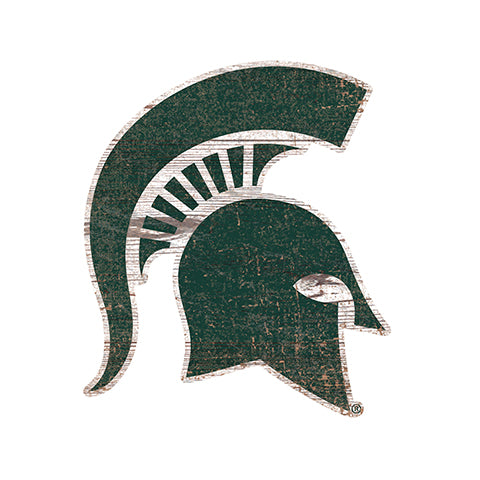 Michigan State  Distressed Logo Cutout Sign