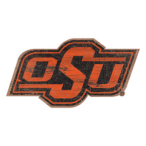 Oklahoma State Distressed Logo Cutout Sign