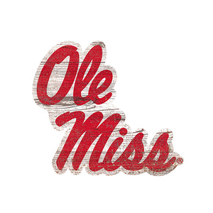 Ole Miss Distressed Logo Cutout Sign