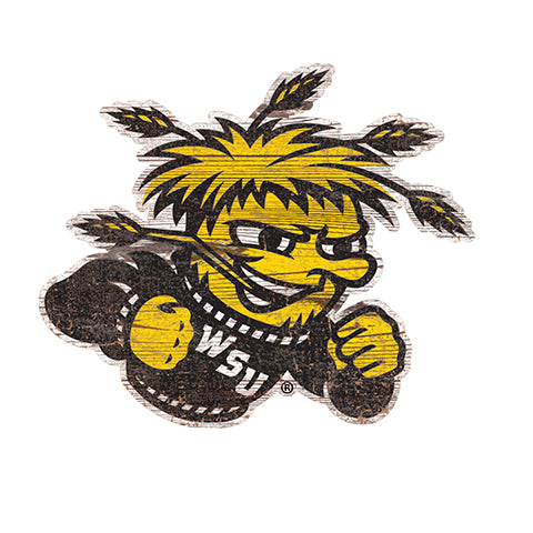 Wichita State  Distressed Logo Cutout Sign