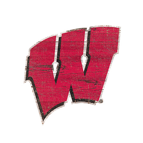 University of Wisconsin Distressed Logo Cutout Sign
