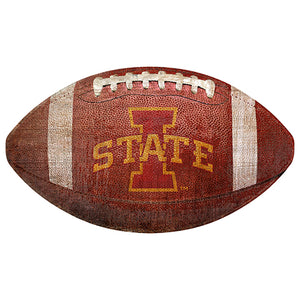 "Iowa State 12"" Football Shaped Sign"