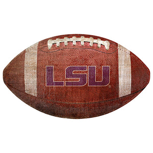 "LSU 12"" Football Shaped Sign"