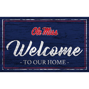 Ole Miss Team Color Welcome 11x19 Sign