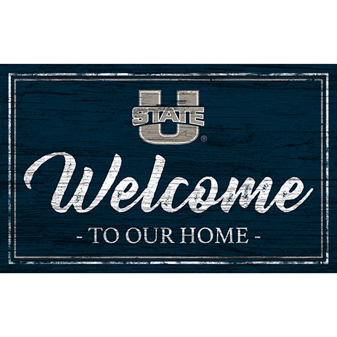 Utah State Team Color Welcome 11x19 Sign