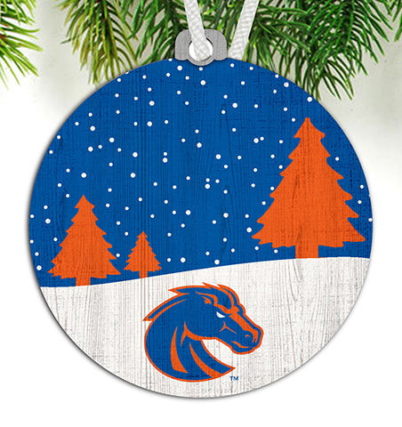 Boise State Snow Scene Ornament