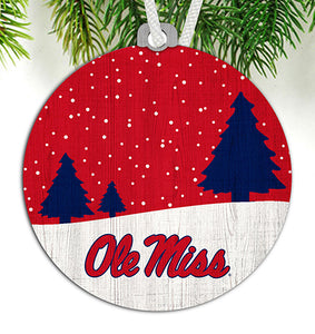 Ole Miss Snow Scene Ornament