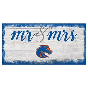 Boise State Script Mr & Mrs 6x12 Sign