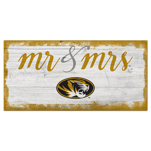 University of Missouri Script Mr & Mrs 6x12 Sign