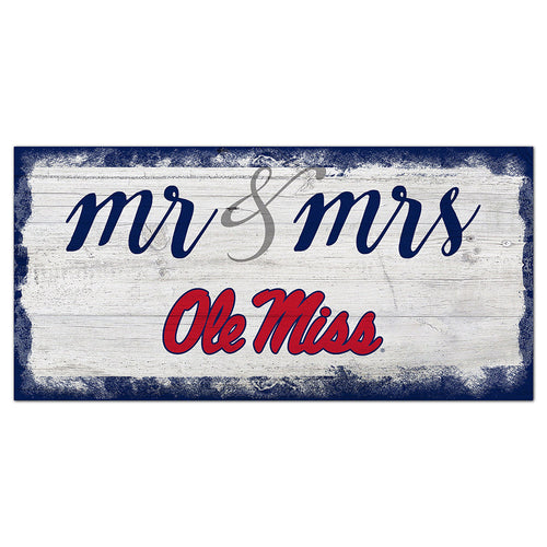 Ole Miss Script Mr & Mrs 6x12 Sign