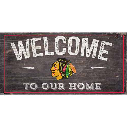 Chicago Blackhawks Welcome Distressed 6x12