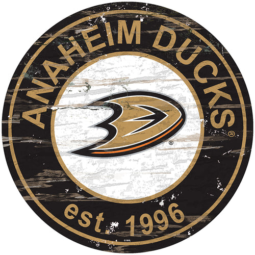 Anaheim Ducks Distressed Round Sign