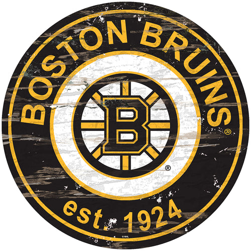 Boston Bruins Distressed Round Sign