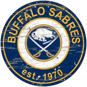 Buffalo Sabres Distressed Round Sign