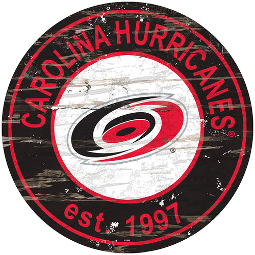 Carolina Hurricanes Distressed Round Sign