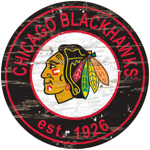 Chicago Blackhawks Distressed Round Sign