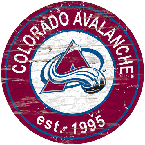 Colorado Avalanche Distressed Round Sign