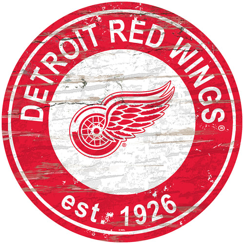 Detroit Red Wings Distressed Round Sign