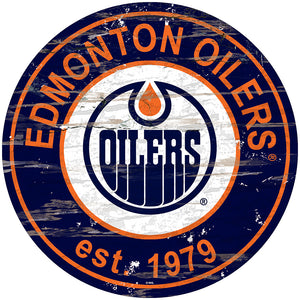 Edmonton Oilers Distressed Round Sign