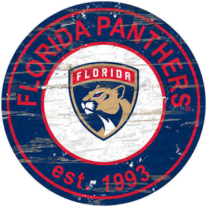 Florida Panthers Distressed Round Sign