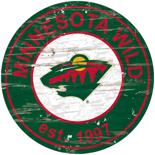 Minnesota Wild Distressed Round Sign