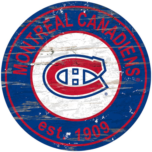 Montreal Canadiens Distressed Round Sign