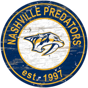 Nashville Predators Distressed Round Sign