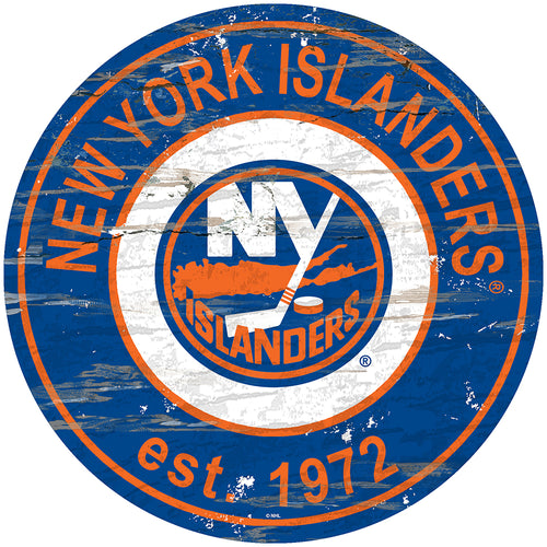 New York Islanders Distressed Round Sign