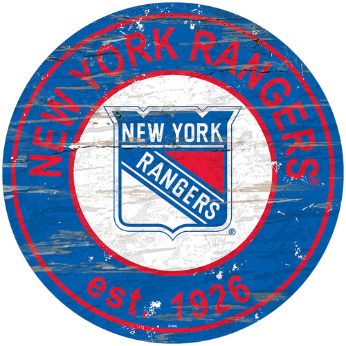 New York Rangers Distressed Round Sign