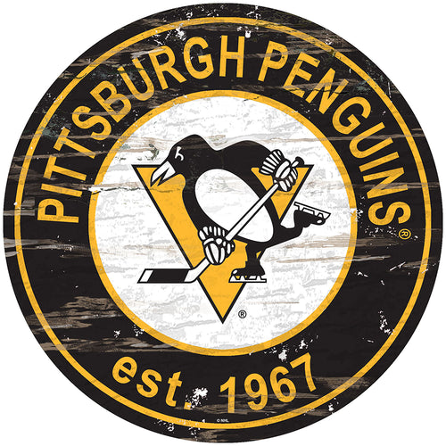 Pittsburgh Penguins Distressed Round Sign
