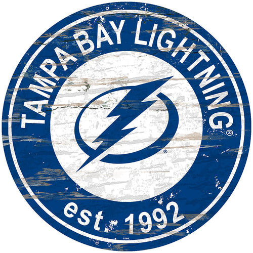 Tampa Bay Lightning Distressed Round Sign