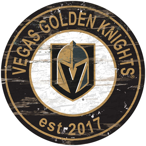 Vegas Golden Knights Distressed Round Sign