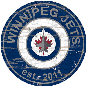 Winnipeg Jets Distressed Round Sign