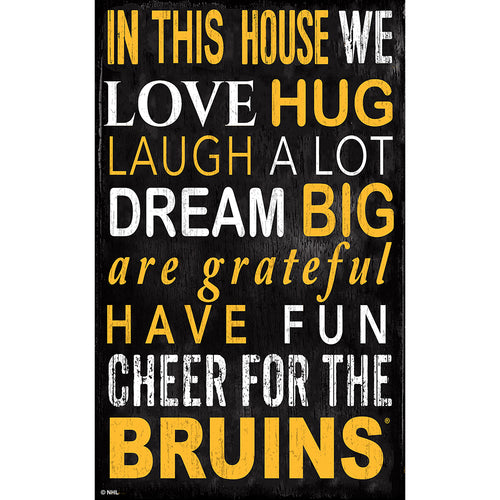 Boston Bruins In This House 11x19 Sign