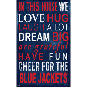 Columbus Blue Jackets In This House 11x19 Sign