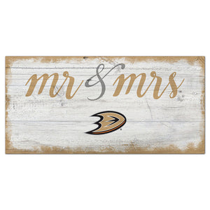 Anaheim Ducks Script Mr & Mrs 6x12 Sign