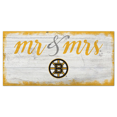 Boston Bruins Script Mr & Mrs 6x12 Sign