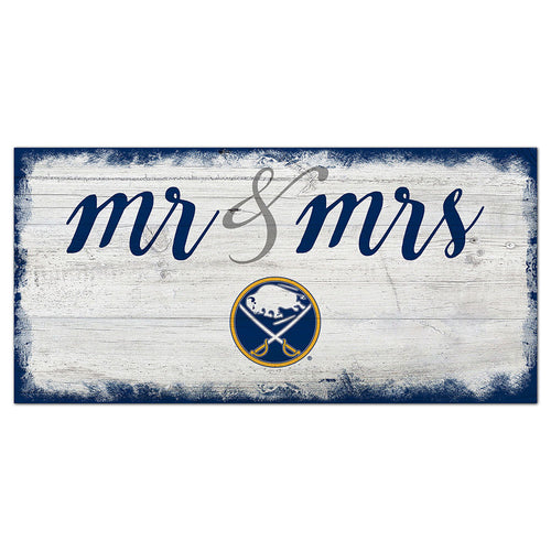 Buffalo Sabres Script Mr & Mrs 6x12 Sign