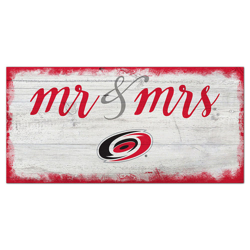 Carolina Hurricanes Script Mr & Mrs 6x12 Sign