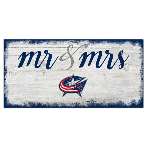 Columbus Blue Jackets Script Mr & Mrs 6x12 Sign