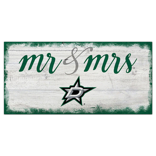 Dallas Stars Script Mr & Mrs 6x12 Sign