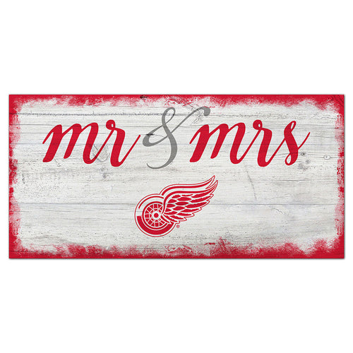 Detroit Red Wings Script Mr & Mrs 6x12 Sign