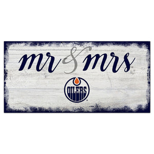 Edmonton Oilers Script Mr & Mrs 6x12 Sign