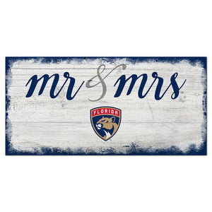 Florida Panthers Script Mr & Mrs 6x12 Sign