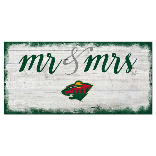 Minnesota Wild Script Mr & Mrs 6x12 Sign
